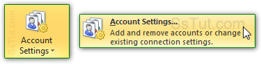 Access your email account settings in Outlook 2010