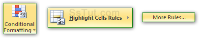 Create a new highlight cells rule in Excel 2010