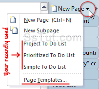Create todo lists using OneNote templates