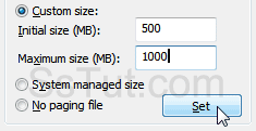 "Enter a custom paging file size and click ""Set"""