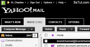 High contrast, solid color theme in Yahoo Mail