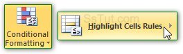 Highlight cells with conditional formatting in Excel 2010