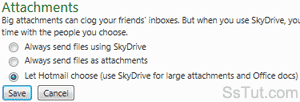 Hotmail attachment options