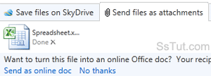 Hotmail message option when sending an Office document as email attachment