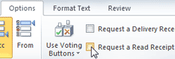 Manually request read receipts in Outlook 2010