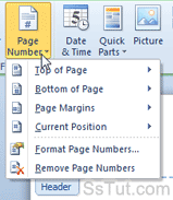 Page number tools in Microsoft Word 2010