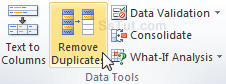 Remove duplicates command in Excel 2010