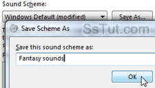 Save modified sound scheme in Windows 7