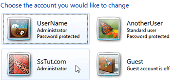 Select the Windows account you want to delete