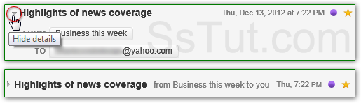 Show or hide basic headers in Yahoo Mail