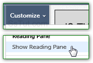 Show or hide the AOL Mail Reading Pane