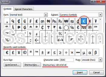 Symbols and special characters dialog in Microsoft Word