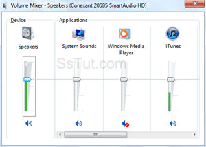 System sound volume mixer in Windows 7