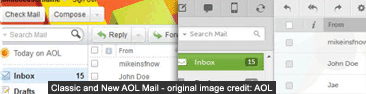 Classic and new version of AOL Mail (2011 / 2012)